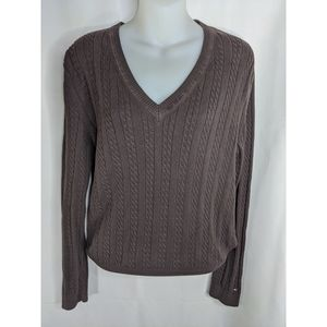 Tommy Hilfiger V-Neck Brown cable knit Sweater XL